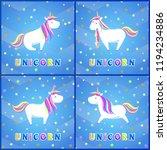 girlish unicorns with rainbow... | Shutterstock .eps vector #1194234886