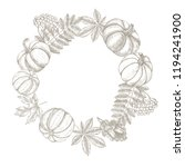 autumn background. wreath with... | Shutterstock .eps vector #1194241900