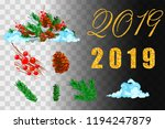 christmas decorations. holly ... | Shutterstock .eps vector #1194247879