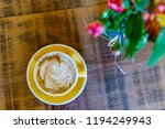 coffee latte from above  | Shutterstock . vector #1194249943