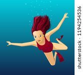 young woman swimming underwater    Shutterstock .eps vector #1194254536