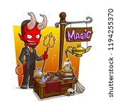 cartoon red evil demon... | Shutterstock .eps vector #1194255370