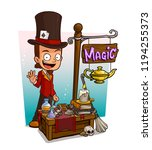 cartoon illusionist character... | Shutterstock .eps vector #1194255373