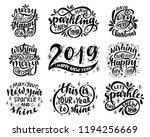 lettering set. 2019. merry... | Shutterstock .eps vector #1194256669