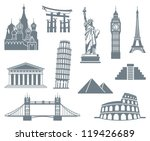 world landmark icon set | Shutterstock .eps vector #119426689