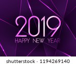 violet 2019 happy new year card ... | Shutterstock .eps vector #1194269140