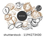 isolated vector set of nuts on... | Shutterstock .eps vector #1194273430