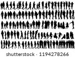 black silhouette of a man  set | Shutterstock .eps vector #1194278266