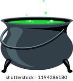 black witch cauldron with green ... | Shutterstock .eps vector #1194286180