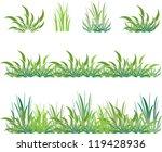 set of green grass and shrubs | Shutterstock .eps vector #119428936