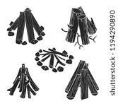 black silhouettes wooden logs... | Shutterstock .eps vector #1194290890