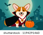 Stock vector halloween corgi dog in vampire costume against spooky background night scene with full moon 1194291460