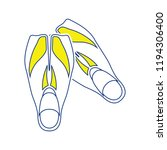 icon of swimming flippers .... | Shutterstock .eps vector #1194306400