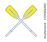 icon of  boat oars. thin line... | Shutterstock .eps vector #1194306403