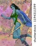 Fantasy Elf Warrior Watercolou...