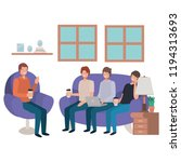 group of men using technology... | Shutterstock .eps vector #1194313693