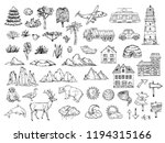 hand drawn map elements. sketch ... | Shutterstock .eps vector #1194315166