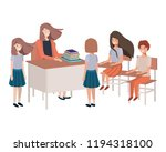 female teacher in the classroom ... | Shutterstock .eps vector #1194318100