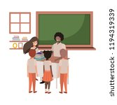 teacher black in the classroom... | Shutterstock .eps vector #1194319339