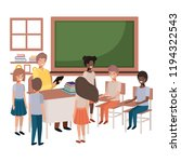 teacher in the classroom with... | Shutterstock .eps vector #1194322543