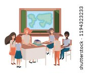 female teacher in the geography ... | Shutterstock .eps vector #1194323233