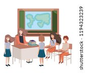 female teacher in the geography ... | Shutterstock .eps vector #1194323239
