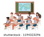 young students in geography... | Shutterstock .eps vector #1194323296