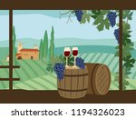 glasses of wine are on the...   Shutterstock .eps vector #1194326023