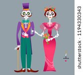 skeleton couple in love. dia de ... | Shutterstock .eps vector #1194330343