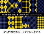 yellow  black and blue tartan... | Shutterstock .eps vector #1194335446