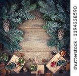 christmas fir tree with... | Shutterstock . vector #1194338590