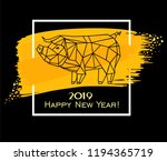 2019 happy new year greeting... | Shutterstock . vector #1194365719