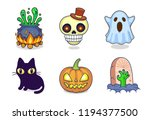 a collection of halloween... | Shutterstock .eps vector #1194377500