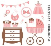 baby shower set for a baby girl ... | Shutterstock .eps vector #119437858