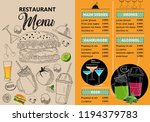 restaurant menu template | Shutterstock .eps vector #1194379783