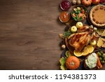 thanksgiving dinner background... | Shutterstock . vector #1194381373
