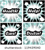 medical signs set on pop art... | Shutterstock .eps vector #119439040