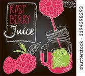 raspberry fresh juice | Shutterstock .eps vector #1194398293