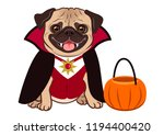 halloween pug dog in vampire... | Shutterstock .eps vector #1194400420