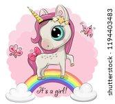 cartoon cartoon unicorn is on... | Shutterstock .eps vector #1194403483