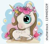 cute cartoon unicorn with... | Shutterstock .eps vector #1194405229