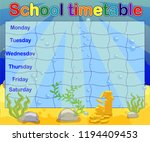 school timetable with marine... | Shutterstock .eps vector #1194409453