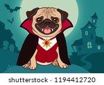halloween pug dog in vampire... | Shutterstock .eps vector #1194412720