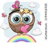 cute cartoon owl with heart is... | Shutterstock .eps vector #1194416530