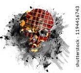 tartan skull and black grunge... | Shutterstock . vector #1194416743