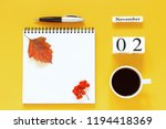 autumn composition. wooden... | Shutterstock . vector #1194418369