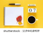 autumn composition. wooden... | Shutterstock . vector #1194418909