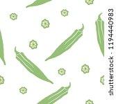 seamless pattern okra doodles... | Shutterstock .eps vector #1194440983