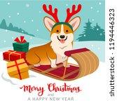cute welsh corgi dog sitting on ... | Shutterstock .eps vector #1194446323