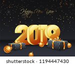 3d golden text 2019 on... | Shutterstock .eps vector #1194447430
